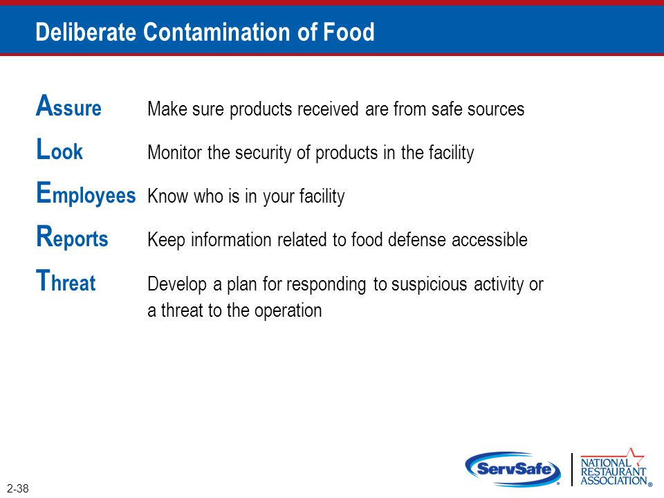 A ssure Make sure products received are from safe sources L ook Monitor the security of products in the facility E mployees Know who is in your facili
