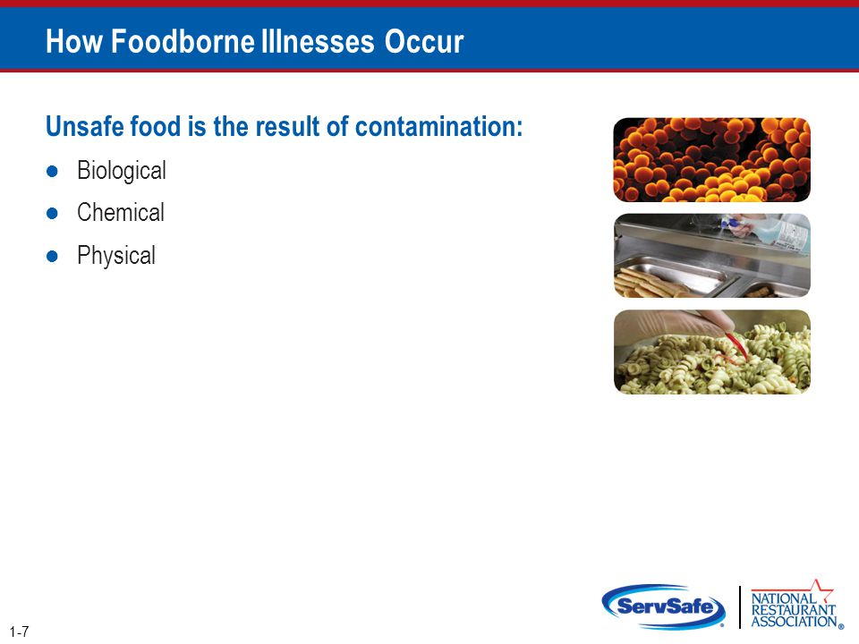 Chemical Contaminants Prevention: Only use chemicals approved for use in foodservice operations Purchase chemicals from approved, reputable suppliers Store chemicals away from prep areas, food-storage areas, and service areas o Chemicals must be separated from food and food-contact surfaces by spacing and partitioning Chemicals must NEVER be stored above food or food-contact surfaces Use chemicals for their intended use and follow manufacturer's directions 2-33