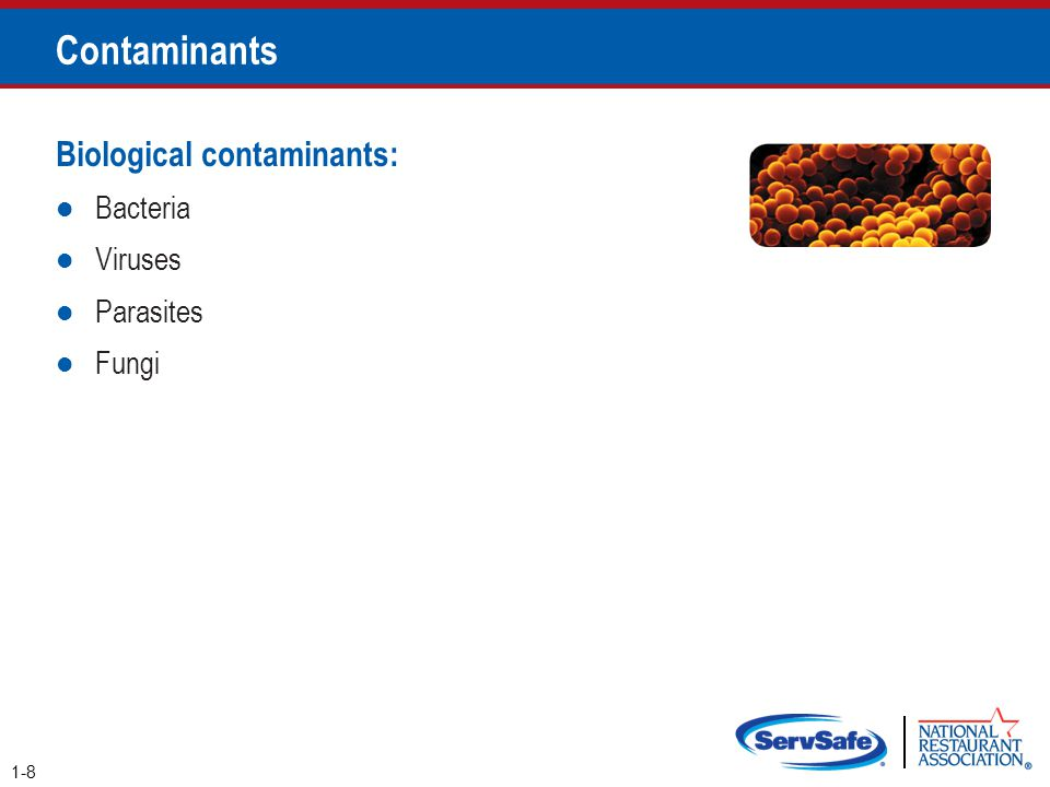 How Contamination Happens People can contaminate food when: They don't wash their hands after using the restroom They are in contact with a person who is sick They sneeze or vomit onto food or food- contact surfaces They touch dirty food-contact surfaces and equipment and then touch food 2-4