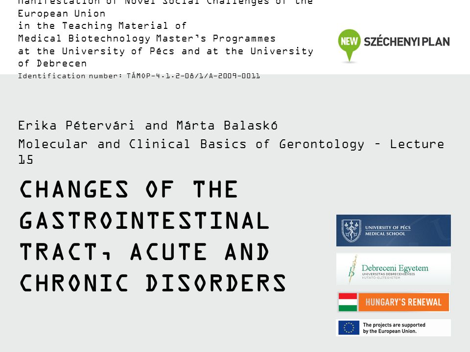 CHANGES OF THE GASTROINTESTINAL TRACT, ACUTE AND CHRONIC DISORDERS Erika Pétervári and Márta Balaskó Molecular and Clinical Basics of Gerontology – Lecture 15 Manifestation of Novel Social Challenges of the European Union in the Teaching Material of Medical Biotechnology Master's Programmes at the University of Pécs and at the University of Debrecen Identification number: TÁMOP-4.1.2-08/1/A-2009-0011