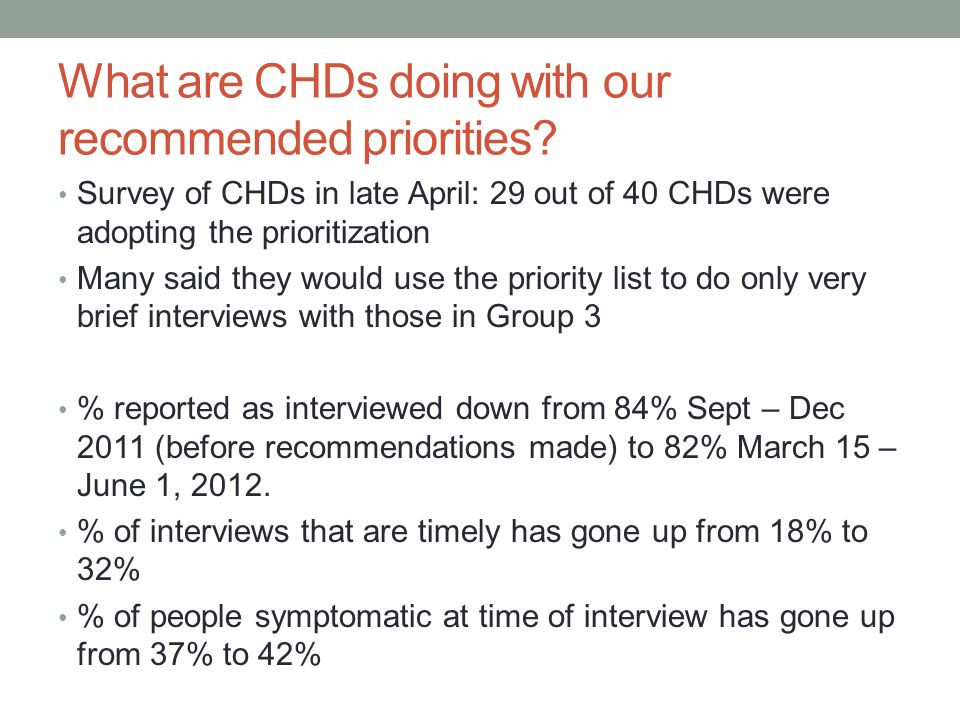 What are CHDs doing with our recommended priorities.