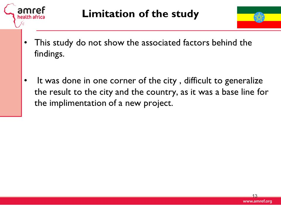 Limitation of the study This study do not show the associated factors behind the findings.
