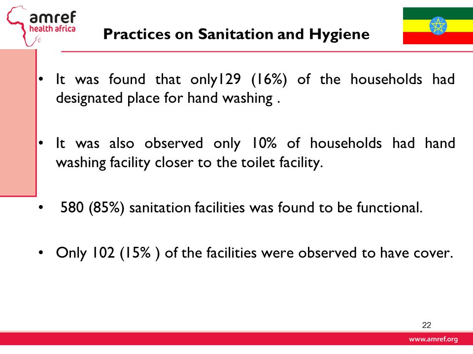 Practices on Sanitation and Hygiene It was found that only129 (16%) of the households had designated place for hand washing.