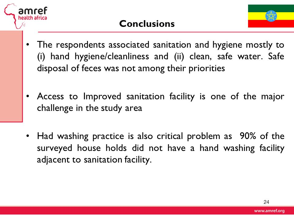 Conclusions The respondents associated sanitation and hygiene mostly to (i) hand hygiene/cleanliness and (ii) clean, safe water.