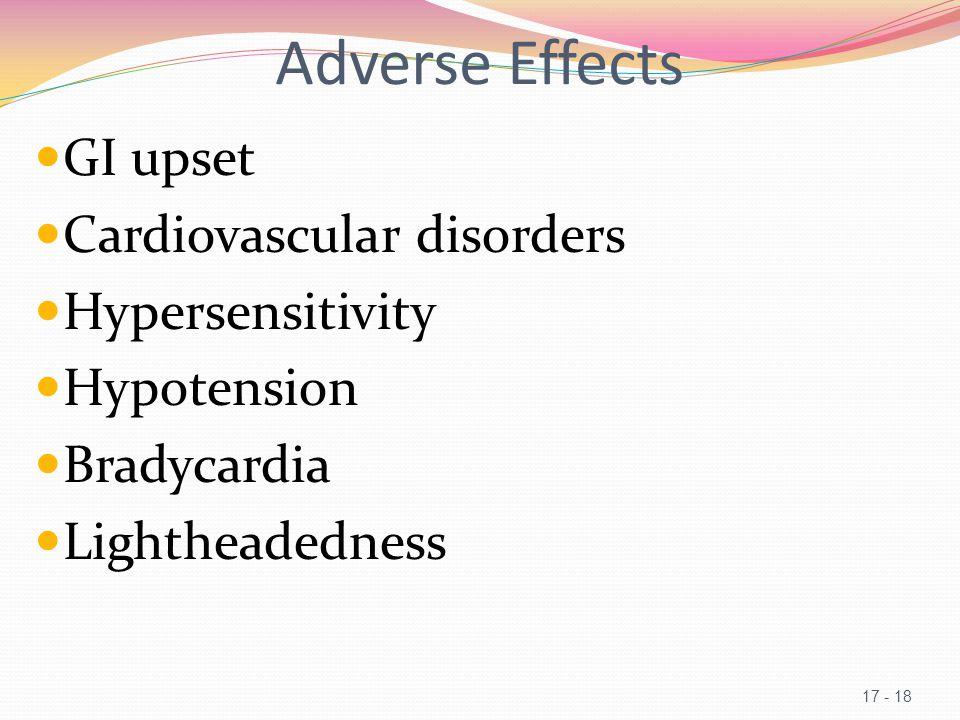 Adverse Effects GI upset Cardiovascular disorders Hypersensitivity Hypotension Bradycardia Lightheadedness 17 - 18