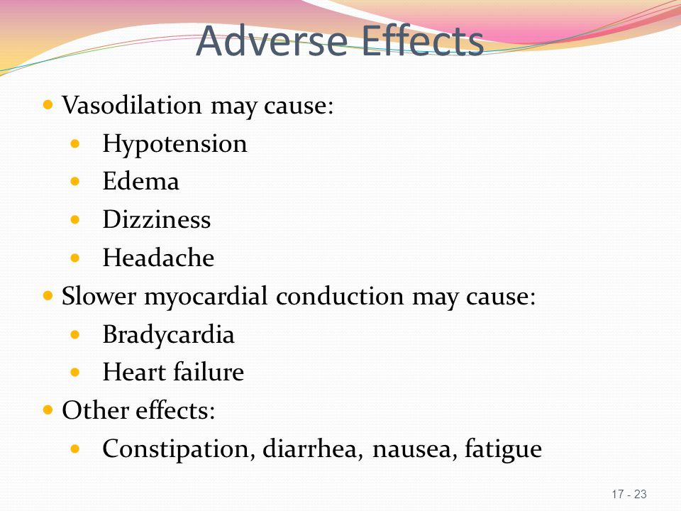 Adverse Effects Vasodilation may cause: Hypotension Edema Dizziness Headache Slower myocardial conduction may cause: Bradycardia Heart failure Other effects: Constipation, diarrhea, nausea, fatigue 17 - 23