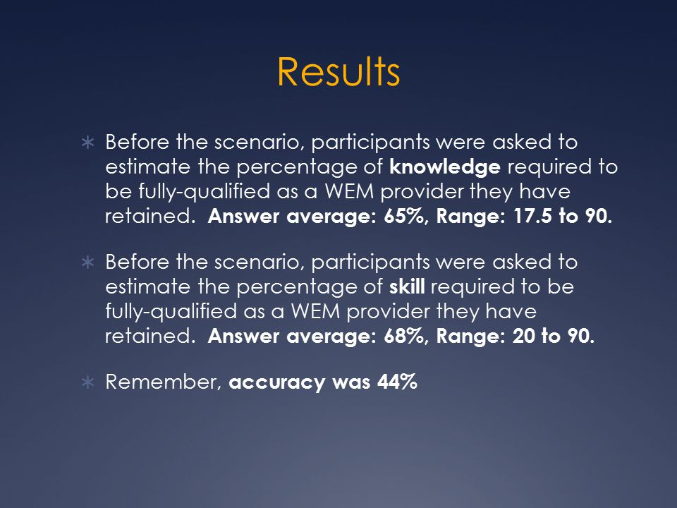 Results  Before the scenario, participants were asked to estimate the percentage of knowledge required to be fully-qualified as a WEM provider they have retained.