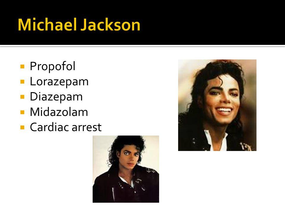  Propofol  Lorazepam  Diazepam  Midazolam  Cardiac arrest
