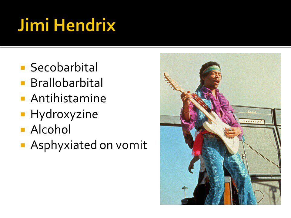  Secobarbital  Brallobarbital  Antihistamine  Hydroxyzine  Alcohol  Asphyxiated on vomit