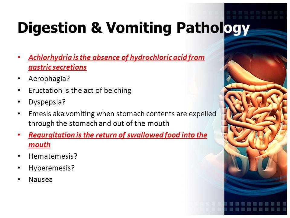 Digestion & Vomiting Pathology Achlorhydria is the absence of hydrochloric acid from gastric secretions Aerophagia.