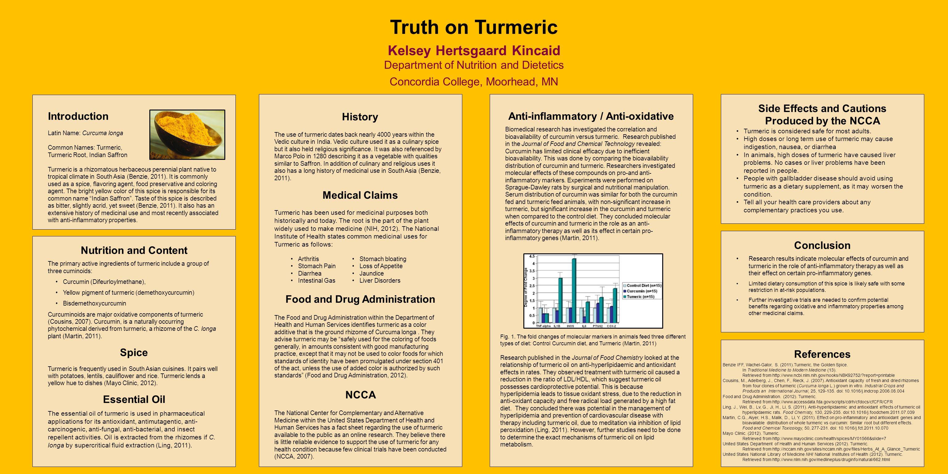 Introduction Latin Name: Curcuma longa Common Names: Turmeric, Turmeric Root, Indian Saffron Turmeric is a rhizomatous herbaceous perennial plant native to tropical climate in South Asia (Benzie, 2011).