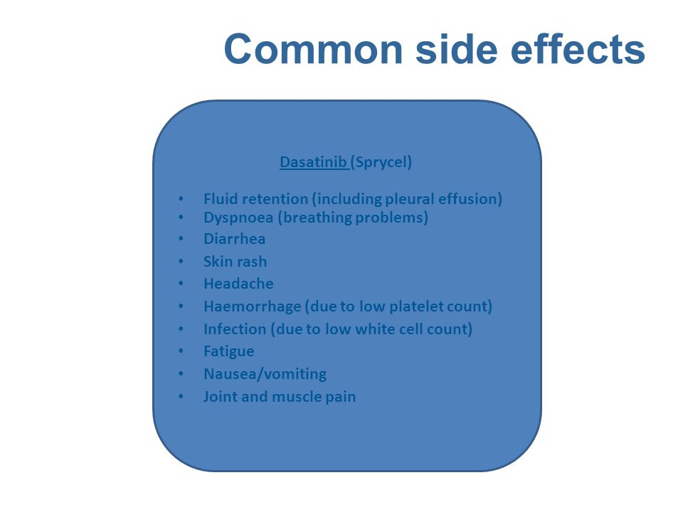 Common side effects Dasatinib (Sprycel) Fluid retention (including pleural effusion) Dyspnoea (breathing problems) Diarrhea Skin rash Headache Haemorr