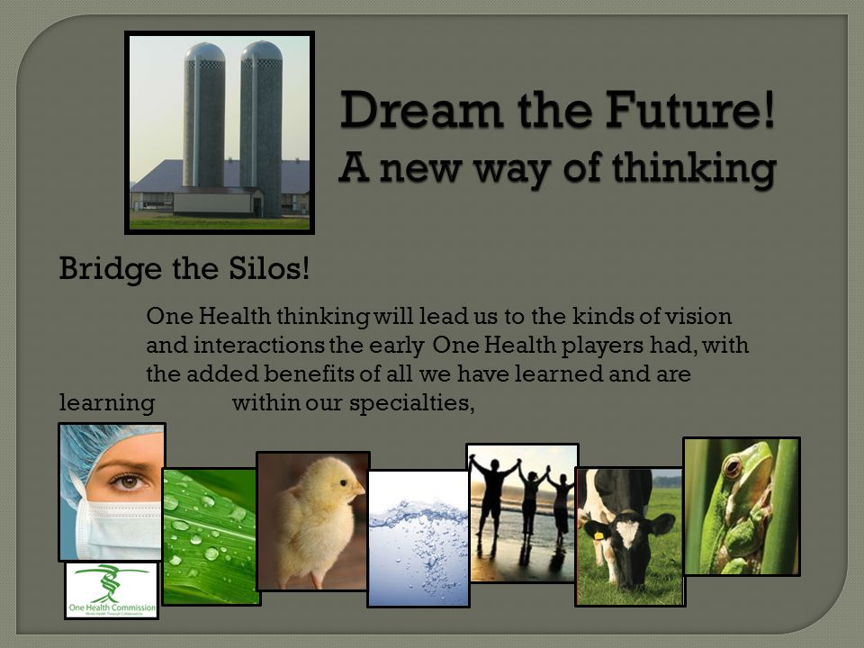 Dream the Future! A new way of thinking Bridge the Silos! One Health thinking will lead us to the kinds of vision and interactions the early One Healt