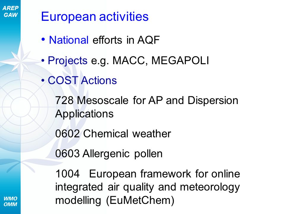 AREP GAW The WMO Sand and Dust Storm Warning, Advisory and Assessment System (SDS-WAS) A Global Consortium Helping Society Reduce Risk Through Research, Assessments and Forecasts IMPACTS: Human Health, Agriculture, Marine productivity, Weather and Climate, Aviation Node in Spain moving to operational SDS-WAS 40 WMO Members interested in the initiative ~ 15 institutions running research operational dust model forecasts 2 SDS-WAS nodes (in China and Spain) established to coordinate regional cooperation Joint GAW and WWRP initiative SDS integrates observations, models and delivers products to users