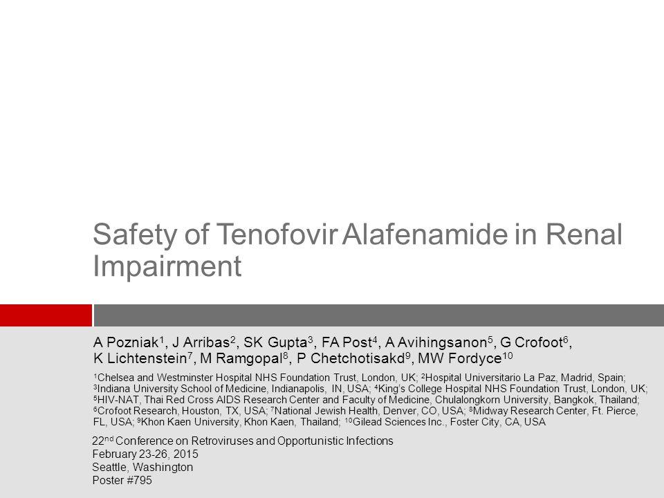 2 Tenofovir Alafenamide (TAF, GS-7340) Novel Prodrug of Tenofovir  TDF has been associated with clinically significant renal and bone toxicity 1-3 – Patients with estimated glomerular filtration rate (eGFR) <50 mL/min require dose adjustment – Patients with eGFR <70 mL/min should not initiate Stribald (elvitegravir/cobicistat/emtricitabine/TDF [E/C/F/TFD]) Pozniak, et al.