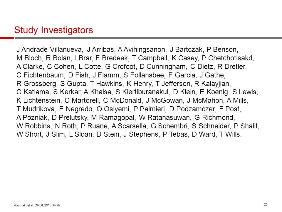 23 Study Investigators Pozniak, et al. CROI, 2015, #795 J Andrade-Villanueva, J Arribas, A Avihingsanon, J Bartczak, P Benson, M Bloch, R Bolan, I Bra