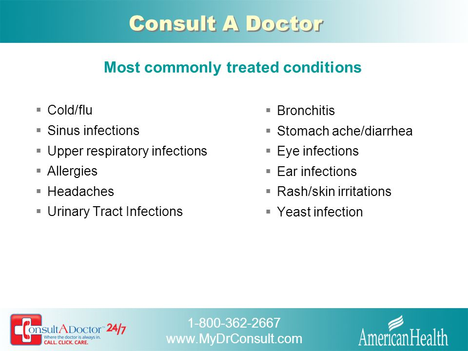 1-800-362-2667 www.MyDrConsult.com Consult A Doctor What a great program.
