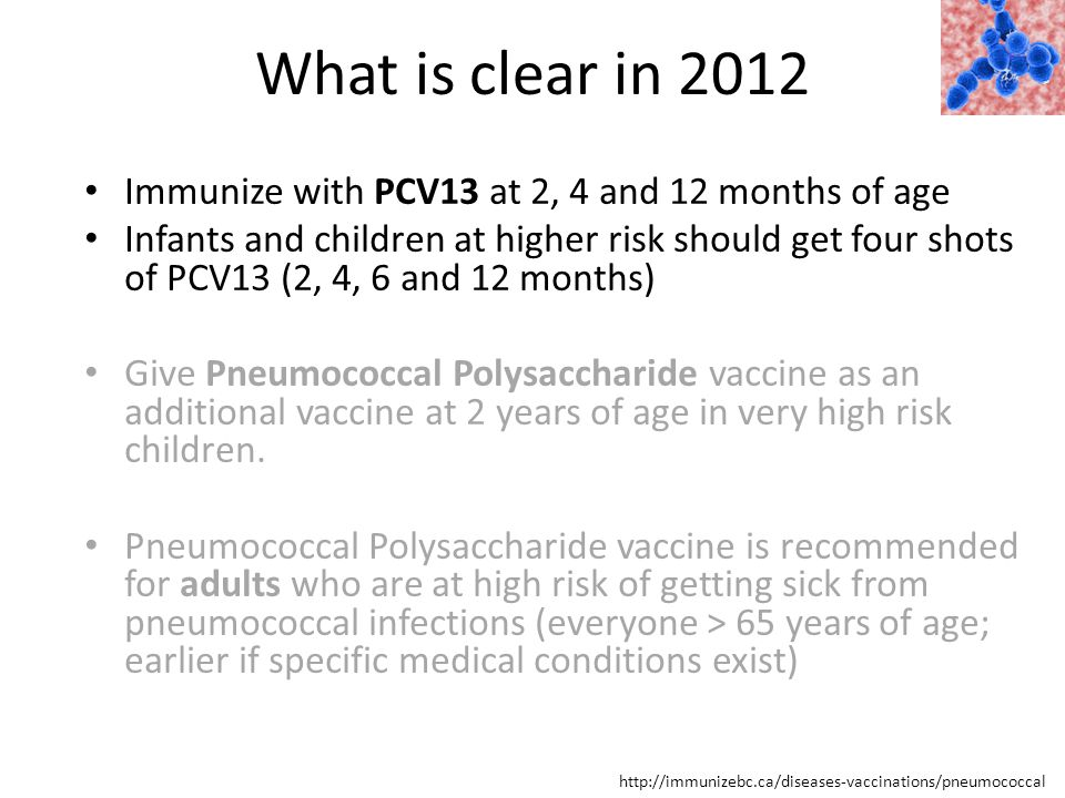 What is clear in 2012 http://immunizebc.ca/diseases-vaccinations/pneumococcal Immunize with PCV13 at 2, 4 and 12 months of age Infants and children at higher risk should get four shots of PCV13 (2, 4, 6 and 12 months) Give Pneumococcal Polysaccharide vaccine as an additional vaccine at 2 years of age in very high risk children.