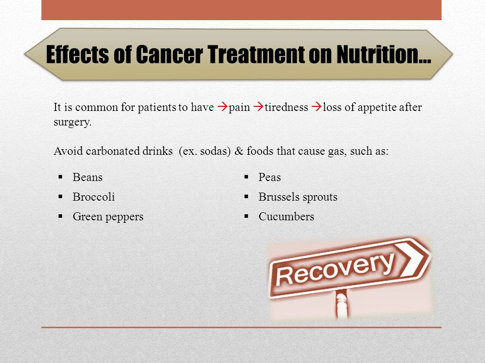 Effects of Cancer Treatment on Nutrition… Nutrition therapy can relieve or decrease the side effects of surgery.