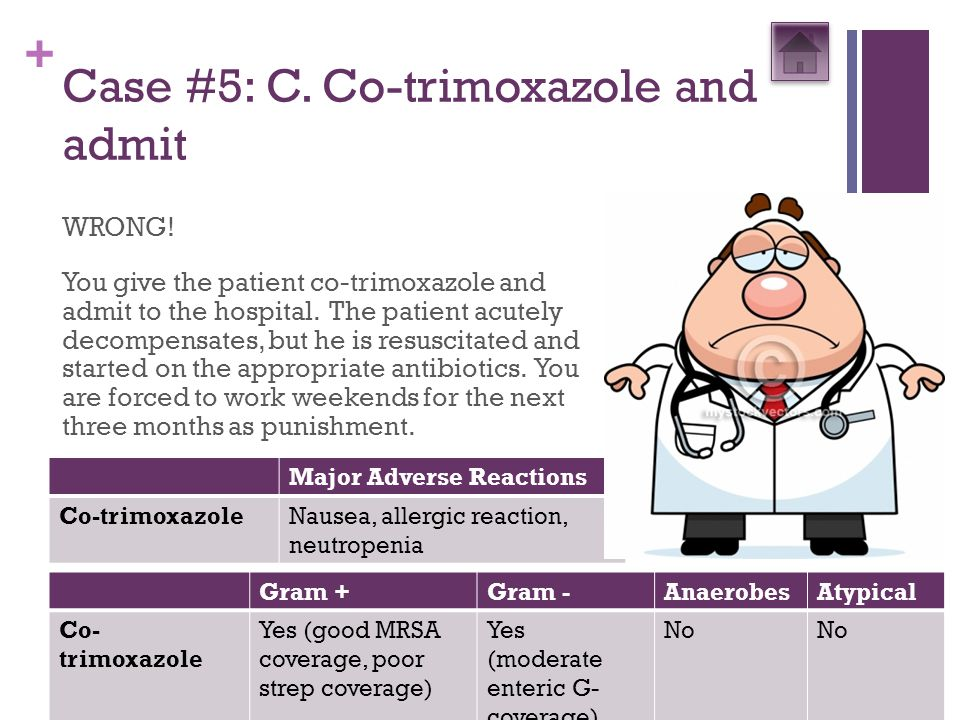 + Case #5: C. Co-trimoxazole and admit WRONG! You give the patient co-trimoxazole and admit to the hospital. The patient acutely decompensates, but he