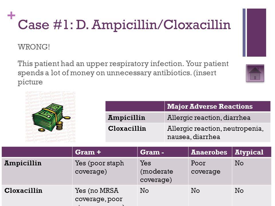 + Case #5: A.Ampicillin, gentamicin, and admit WRONG.