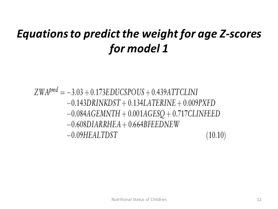 Equations to predict the weight for age Z-scores for model 1 12Nutritional Status of Children