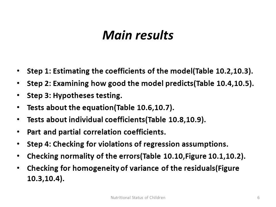 Main results Step 1: Estimating the coefficients of the model(Table 10.2,10.3).