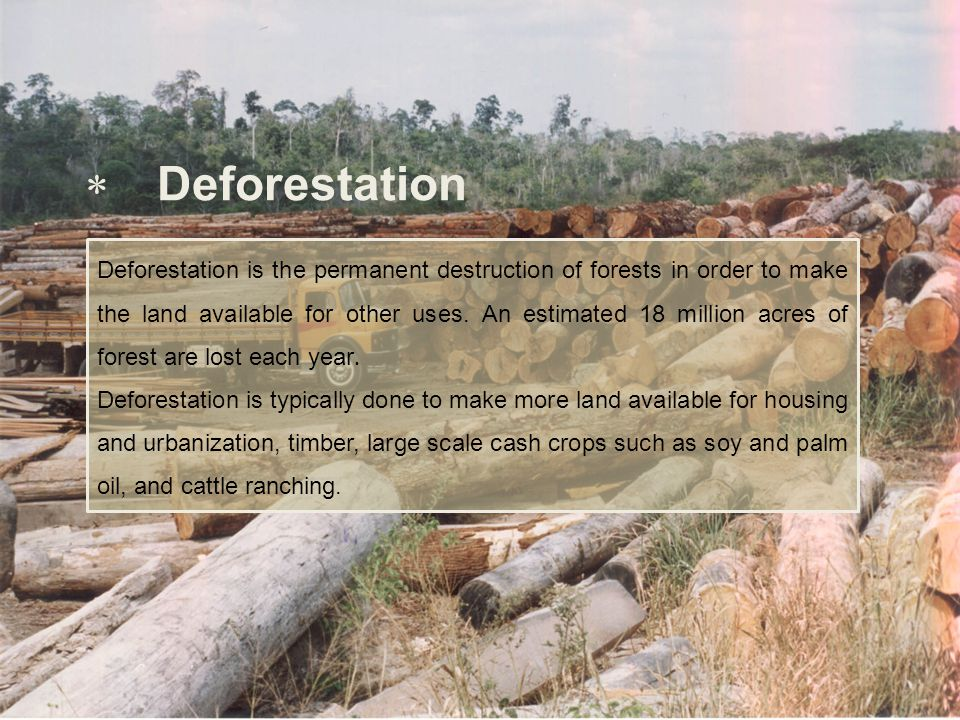  Deforestation Deforestation is the permanent destruction of forests in order to make the land available for other uses. An estimated 18 million acre