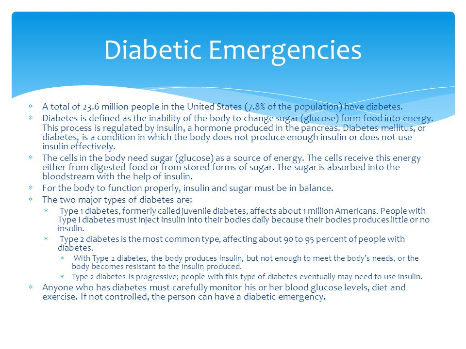  A total of 23.6 million people in the United States (7.8% of the population) have diabetes.