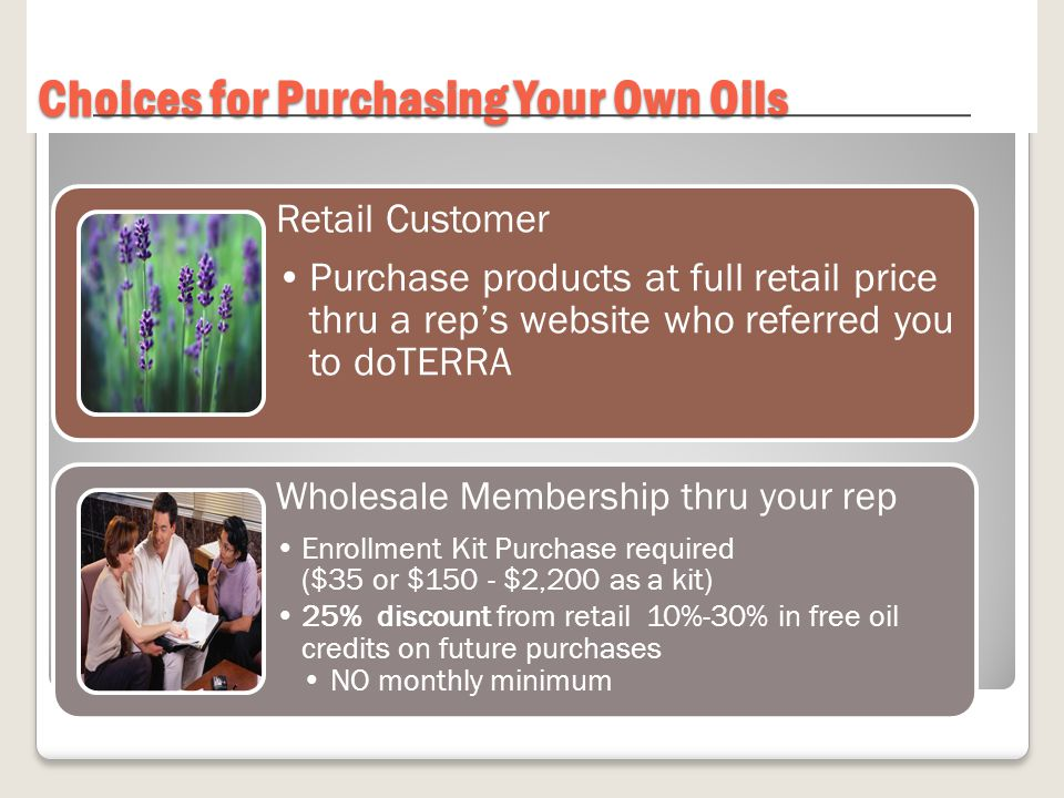 Choices for Purchasing Your Own Oils Retail Customer Purchase products at full retail price thru a rep's website who referred you to doTERRA Wholesale Membership thru your rep Enrollment Kit Purchase required ($35 or $150 - $2,200 as a kit) 25% discount from retail 10%-30% in free oil credits on future purchases NO monthly minimum
