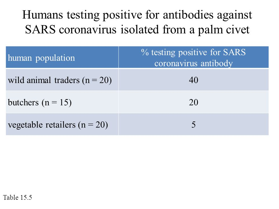 Humans testing positive for antibodies against SARS coronavirus isolated from a palm civet Table 15.5 human population % testing positive for SARS coronavirus antibody wild animal traders (n = 20)40 butchers (n = 15)20 vegetable retailers (n = 20)5