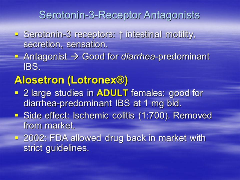 Serotonin-3-Receptor Antagonists  Serotonin-3 receptors: ↑ intestinal motility, secretion, sensation.