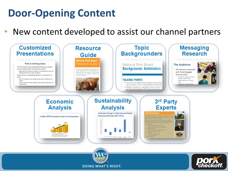 Door-Opening Content New content developed to assist our channel partners Customized Presentations Resource Guide Topic Backgrounders Messaging Research Economic Analysis Sustainability Analysis 3 rd Party Experts