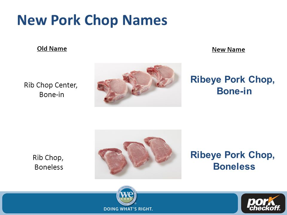 New Pork Chop Names Old Name New Name Rib Chop Center, Bone-in Ribeye Pork Chop, Bone-in Rib Chop, Boneless Ribeye Pork Chop, Boneless