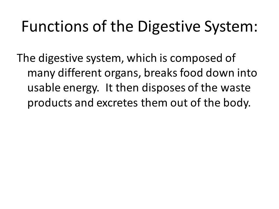 Functions of the Digestive System: The digestive system, which is composed of many different organs, breaks food down into usable energy. It then disp