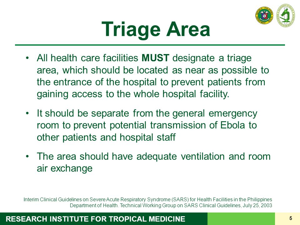 6 RESEARCH INSTITUTE FOR TROPICAL MEDICINE 6 Screening / Triage tent at RITM