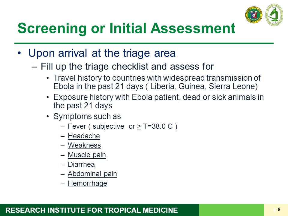 9 RESEARCH INSTITUTE FOR TROPICAL MEDICINE Management Triage Screening Form