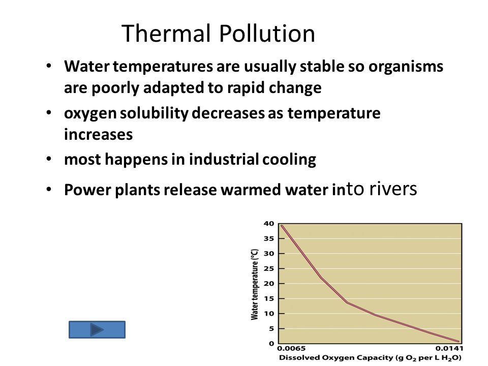 Thermal Pollution Water temperatures are usually stable so organisms are poorly adapted to rapid change oxygen solubility decreases as temperature inc