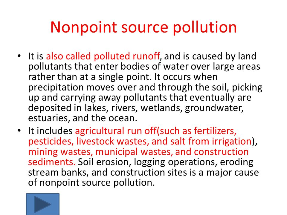 Eight categories of water pollutants The main water pollution issue is lack of disease-free drinking water.