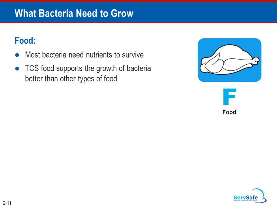 Food: Most bacteria need nutrients to survive TCS food supports the growth of bacteria better than other types of food What Bacteria Need to Grow 2-11 F Food