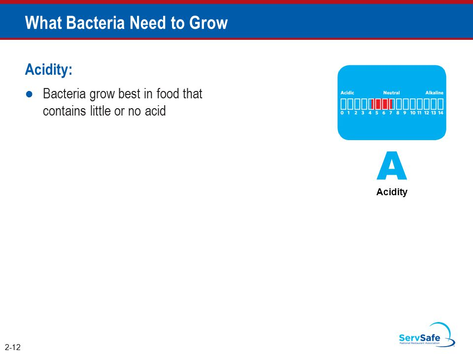 Acidity: Bacteria grow best in food that contains little or no acid What Bacteria Need to Grow 2-12 A Acidity