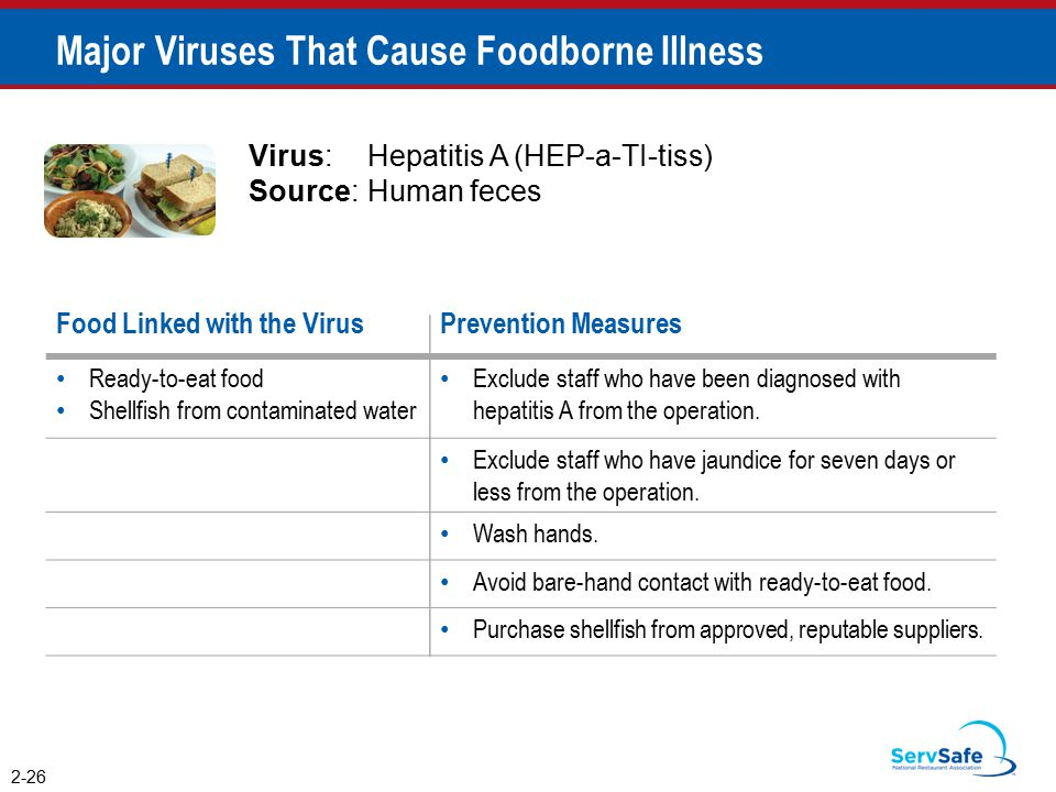 2-26 Major Viruses That Cause Foodborne Illness Virus:Hepatitis A (HEP-a-TI-tiss) Source:Human feces Food Linked with the VirusPrevention Measures Ready-to-eat food Shellfish from contaminated water Exclude staff who have been diagnosed with hepatitis A from the operation.