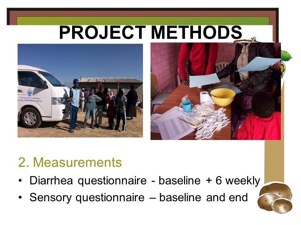 PROJECT METHODS 2. Measurements Diarrhea questionnaire - baseline + 6 weekly Sensory questionnaire – baseline and end