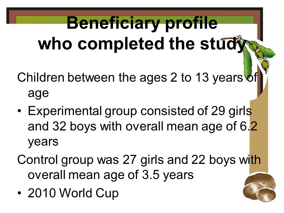 Beneficiary profile who completed the study Children between the ages 2 to 13 years of age Experimental group consisted of 29 girls and 32 boys with overall mean age of 6.2 years Control group was 27 girls and 22 boys with overall mean age of 3.5 years 2010 World Cup