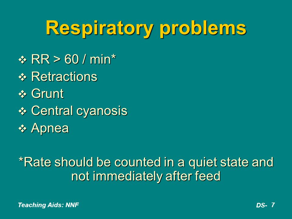 Teaching Aids: NNF DS- 18 Tracheo-esophageal fistula  Excessive drooling; choking; cyanosis during feeds; respiratory distress  Failure to pass red rubber catheter beyond 8 to 10 cm from mouth