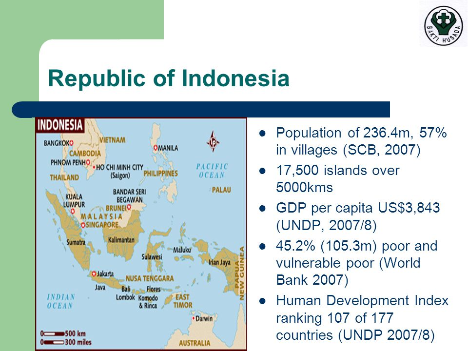 Republic of Indonesia Population of 236.4m, 57% in villages (SCB, 2007) 17,500 islands over 5000kms GDP per capita US$3,843 (UNDP, 2007/8) 45.2% (105.3m) poor and vulnerable poor (World Bank 2007) Human Development Index ranking 107 of 177 countries (UNDP 2007/8)