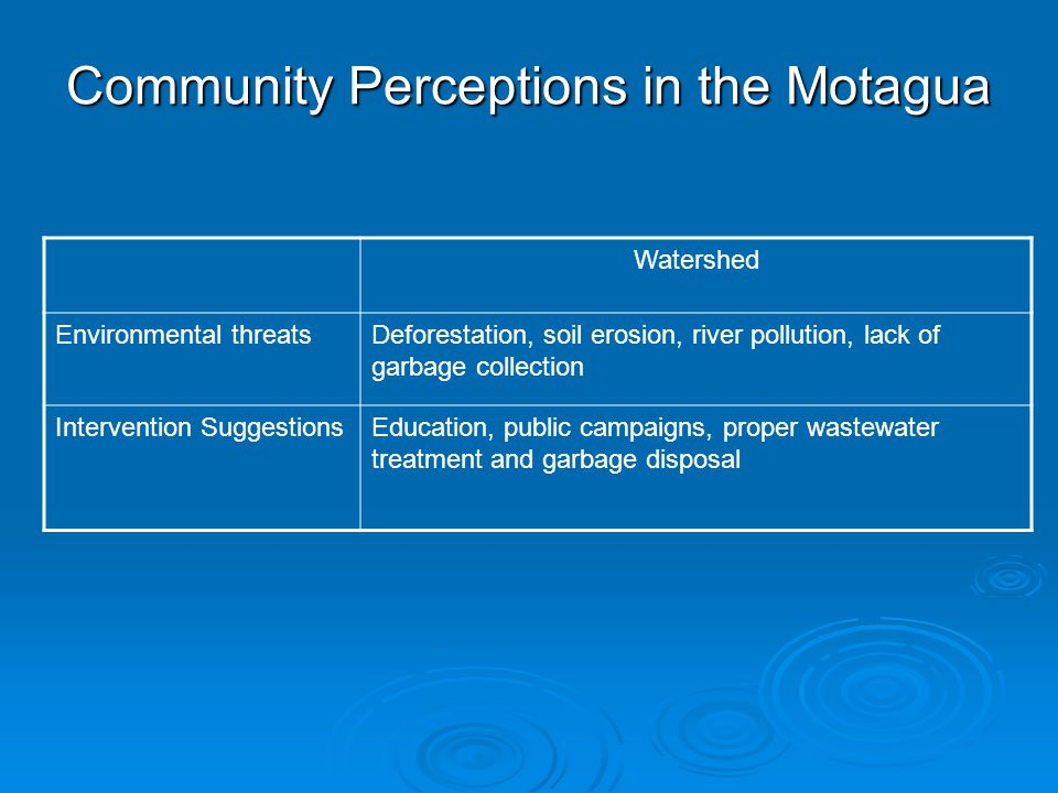 Community Perceptions in the Motagua Watershed Environmental threatsDeforestation, soil erosion, river pollution, lack of garbage collection Intervention SuggestionsEducation, public campaigns, proper wastewater treatment and garbage disposal