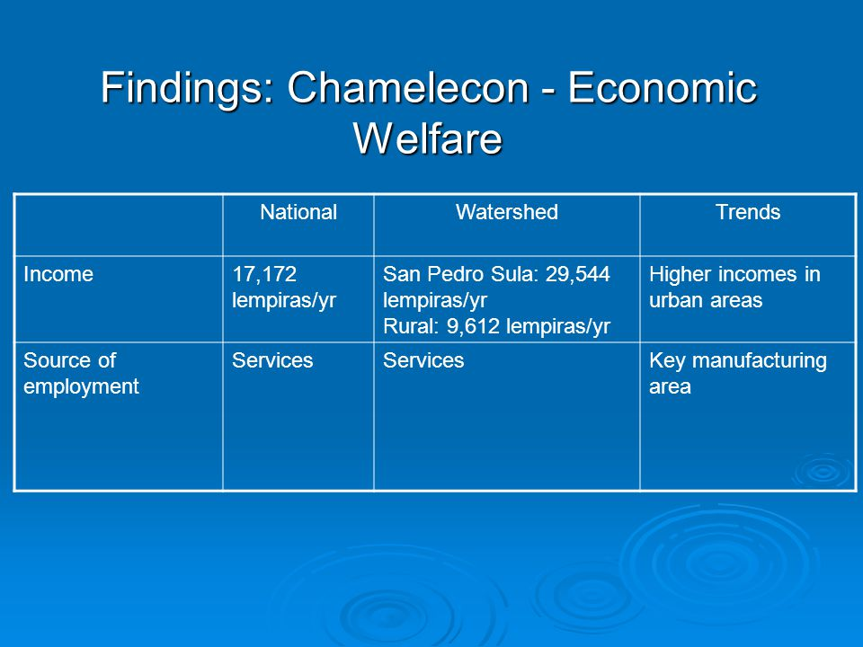 Findings: Chamelecon - Economic Welfare NationalWatershedTrends Income17,172 lempiras/yr San Pedro Sula: 29,544 lempiras/yr Rural: 9,612 lempiras/yr Higher incomes in urban areas Source of employment Services Key manufacturing area