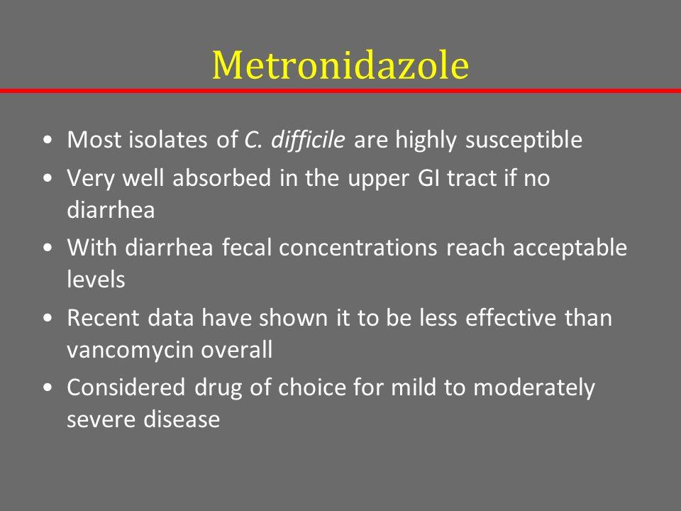 Metronidazole Most isolates of C.