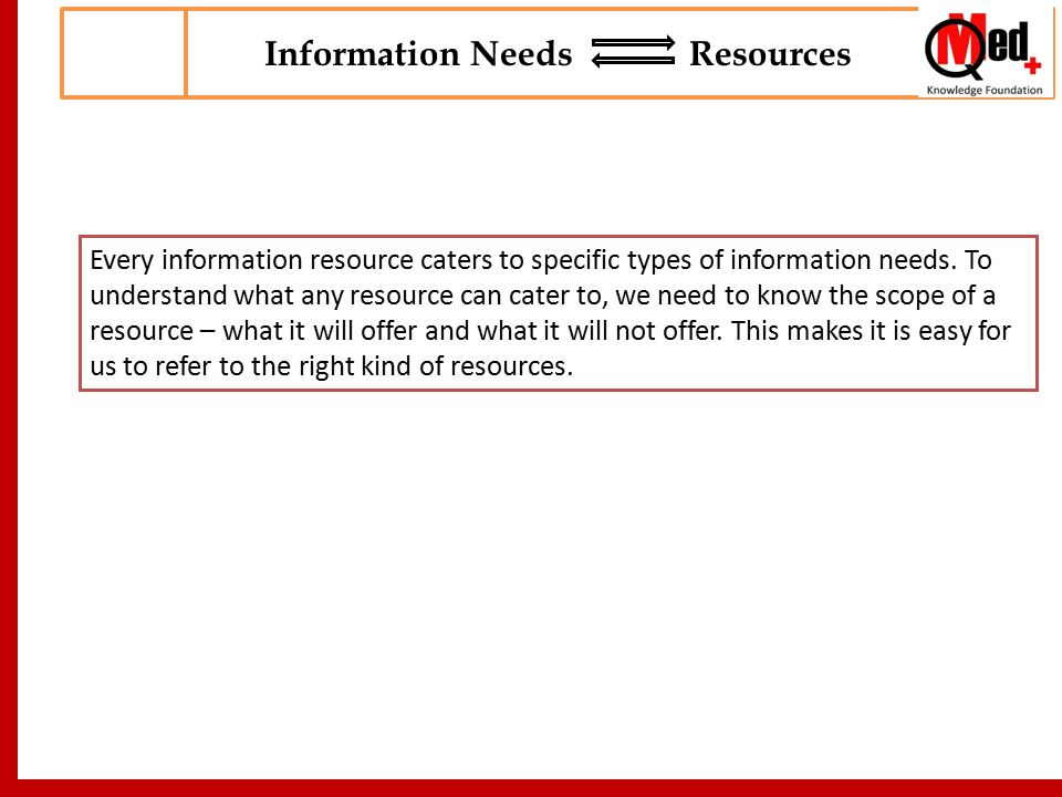 Every information resource caters to specific types of information needs.